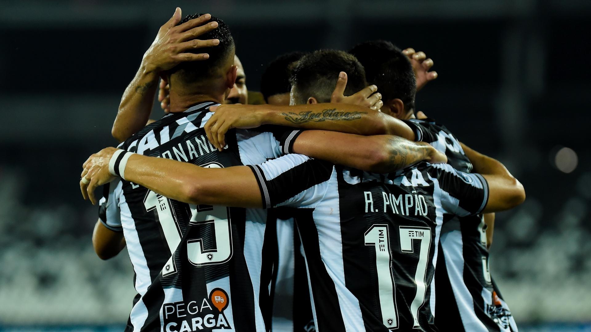 Jogadores do Botafogo comemoram gol marcado contra o Bahia