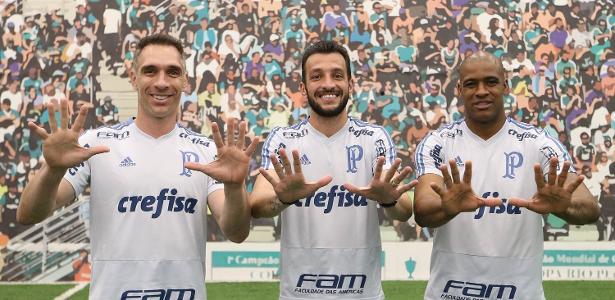 Fernando Prass, Edu Dracena e Jailson posam no Palmeiras - Cesar Greco/Ag. Palmeiras/Divulgação