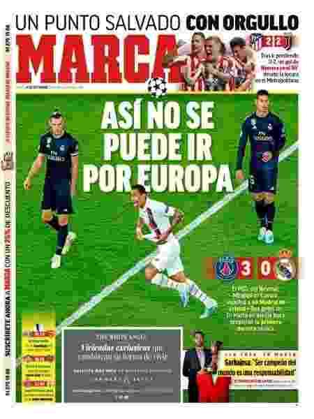 Capa do jornal Marca, da Espanha, sobre a derrota do Real Madrid para o PSG - Reprodução
