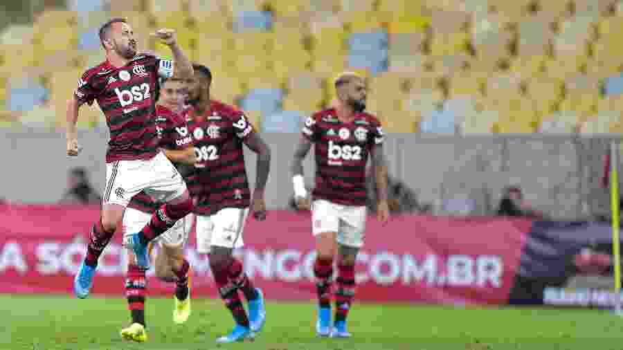 Everton Ribeiro comemora gol do Flamengo, que já está classificado para o Mundial 2021 - Thiago Ribeiro/AGIF