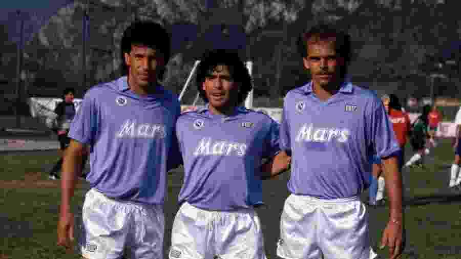 Careca, Maradona e Alemão (a partir da esq.) marcaram época com a camisa do Napoli - Reprodução