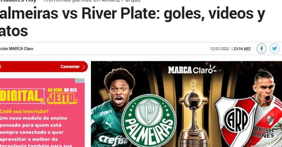 Marca apontou emoção em duelo entre Palmeiras e River Plate