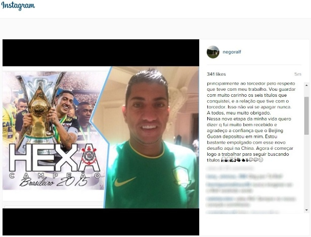 Em rede social, meio-campista agradeu corintianos e confiança de equipe chinesa