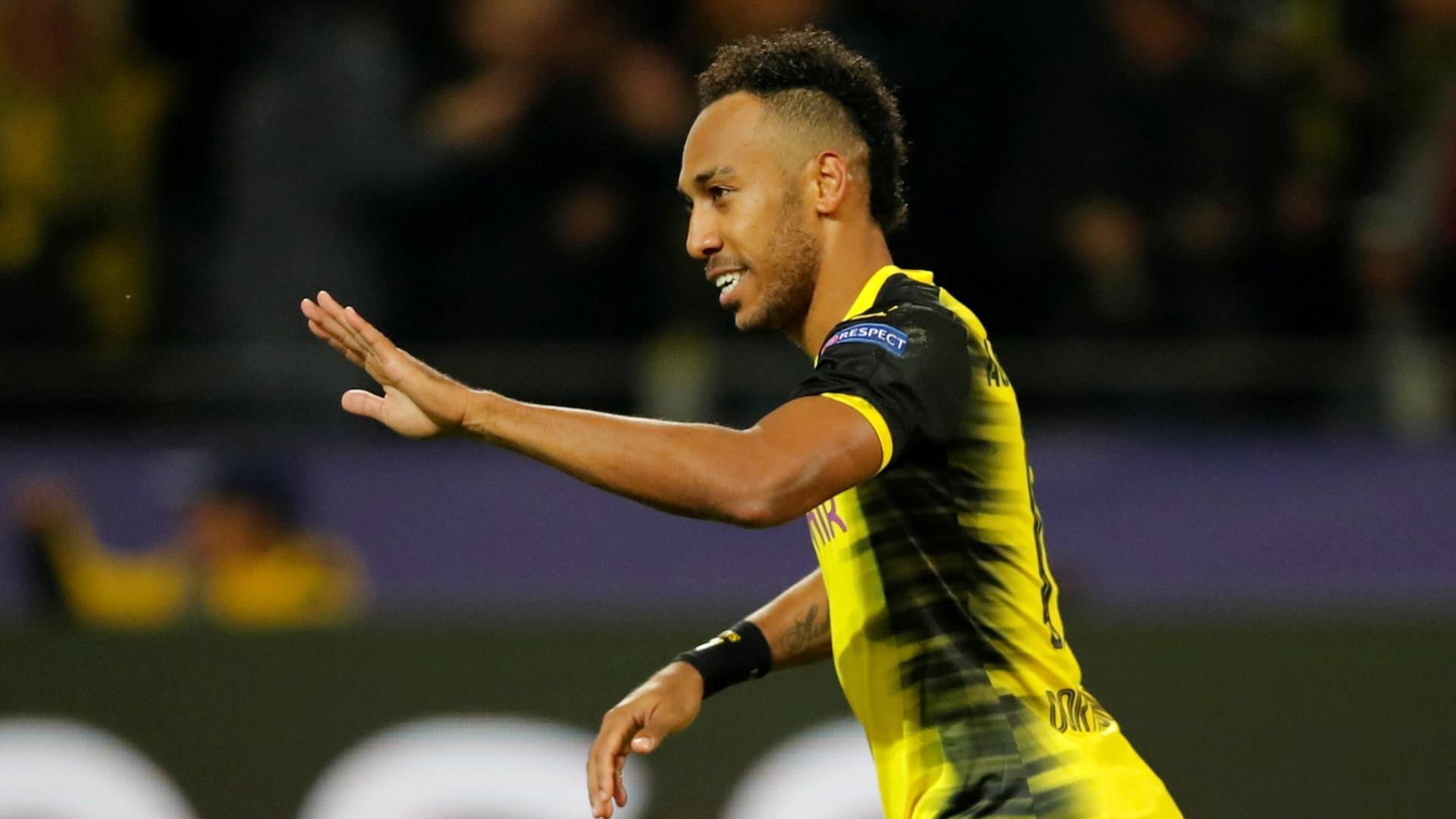 Aubameyang celebra após marcar pelo Dortmund contra o Real