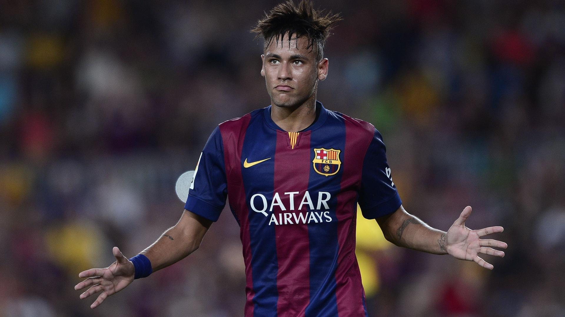 Neymar comemora gol pelo Barcelona em agosto de 2014