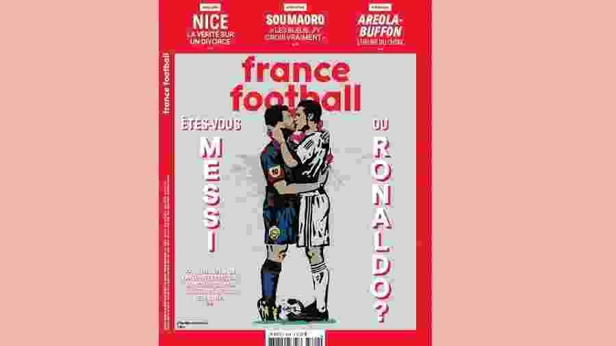Ilustração de Lionel Messi e Cristiano Ronaldo se beijando estampa capa da France Football - Reprodução/France Football