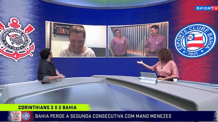 Interfone toca e interrompe participação de Ana Thaís no 'Troca de Passes' - Reprodução/SporTV - Reprodução/SporTV