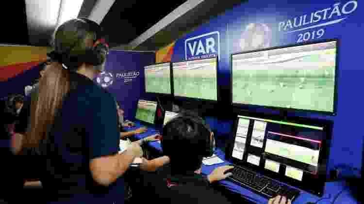 Teste do VAR no Morumbi realizado em fevereiro, durante a partida entre São Paulo e Red Bull - Ale Vianna/FPF