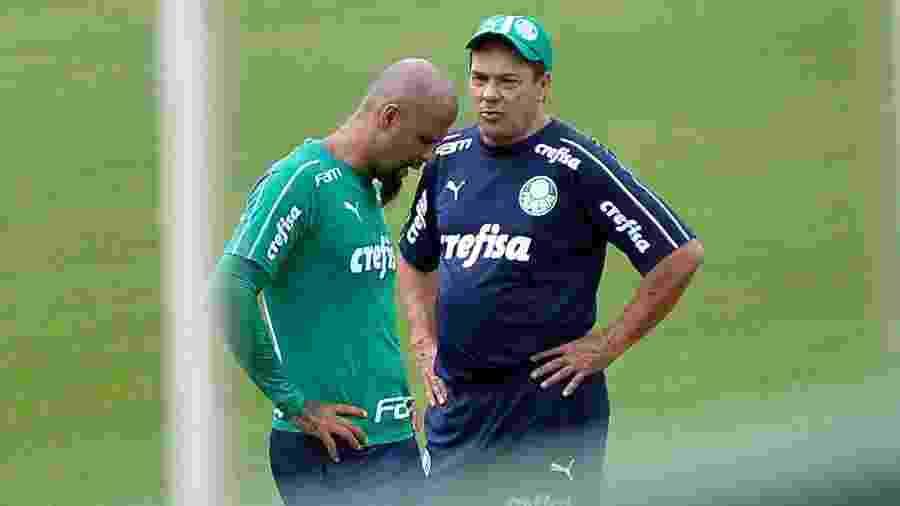 Felipe Melo e Vanderlei Luxemburgo em treino do Palmeiras - Bruno Ulivieri/AGIF