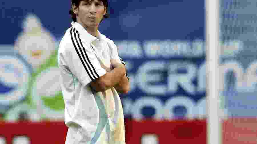 Messi durante treino da seleção da Argentina em Hamburgo, na Alemanha, na Copa do Mundo de 2006 - Timothy A. Clary/AFP