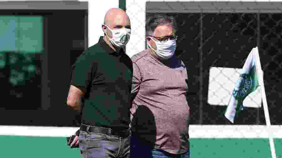 Maurício Galiotte e Anderson Barros, durante treino do Palmeiras, na Academia de Futebol - Cesar Greco
