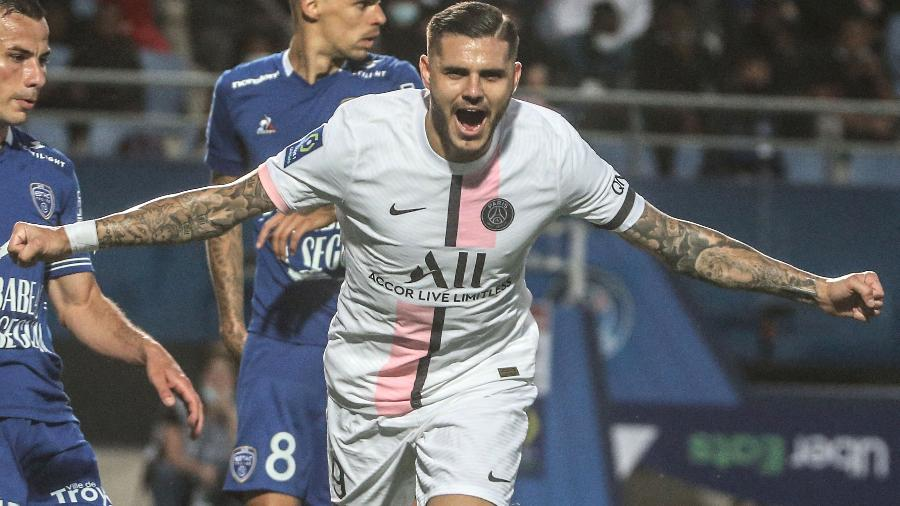 Icardi comemora o segundo gol do PSG contra o Troyes, na primeira rodada do Campeonato Francês - FRANCOIS NASCIMBENI/AFP