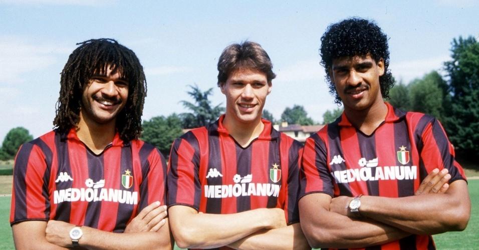 Trio holandês do Milan nos anos 80 e 90: Gullit, Van Basten e Rikjaard