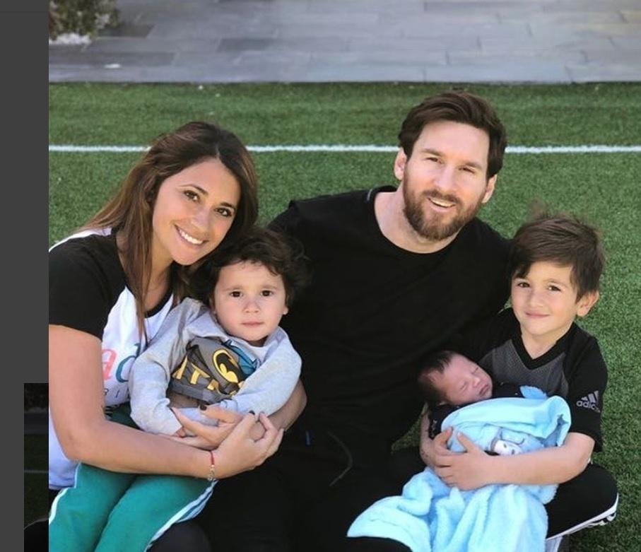 Messi no domingo de Páscoa com a família
