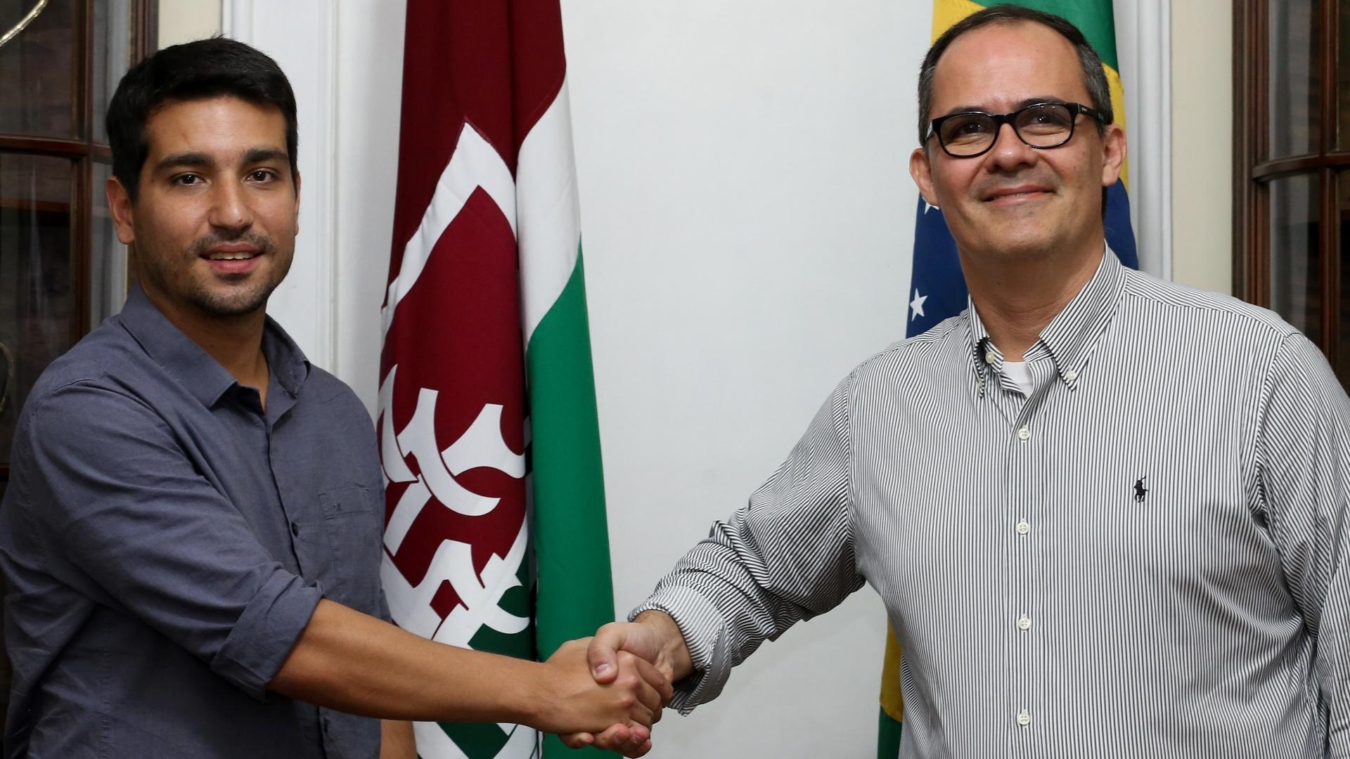 Pedro Abad, presidente do Fluminense, com o ex-vice-presidente de finanças do clube Diogo Bueno