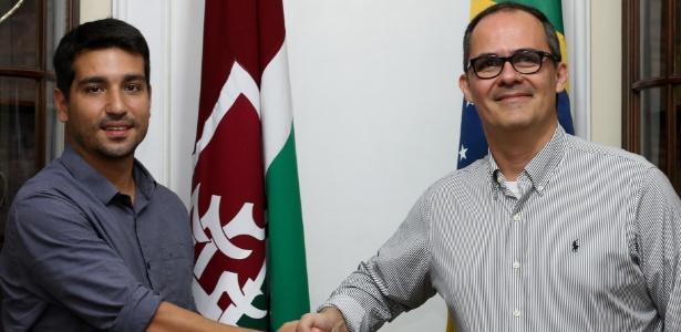 Pedro Abad (à direita), presidente do Flu, com o ex-vice de finanças Diogo Bueno