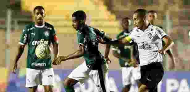 Jogadores disputam bola durante partida entre Palmeiras e Figueirense - Divulgação/Palmeiras