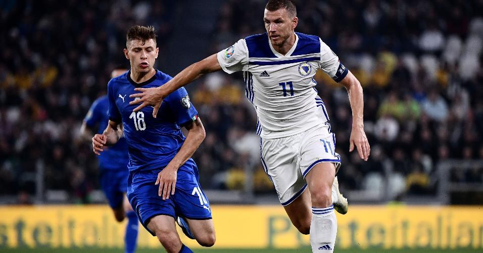 Dzeko, durante partida entre Bósnia e Itália