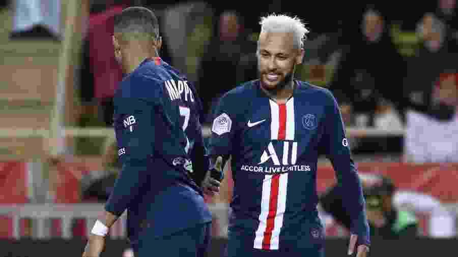 Mbappé e Neymar marcaram ainda no 1º tempo para dar a vitória fora de casa ao PSG; depois, Sarabia e Mbappé marcaram - Valery Hache/AFP