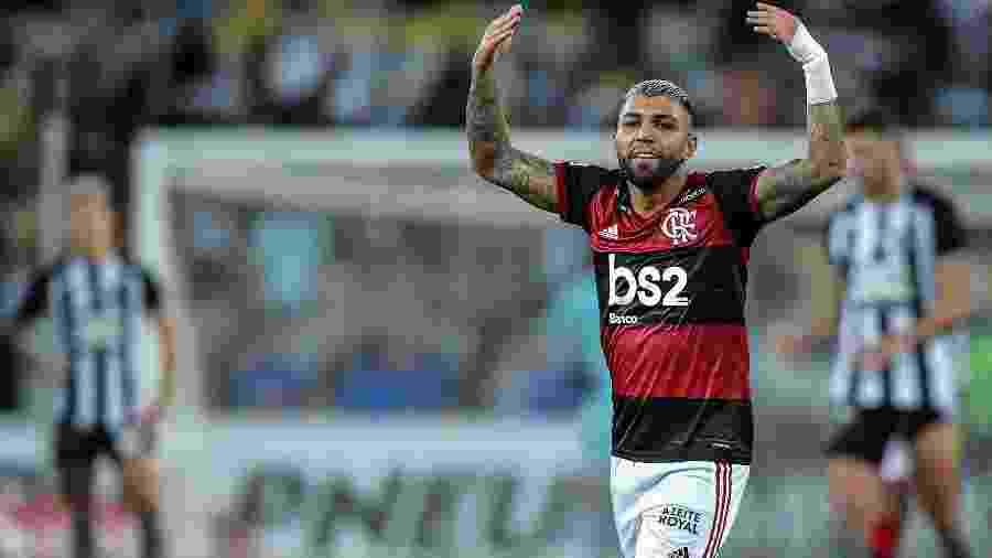 Gabigol comemora depois de balançar as redes no clássico contra o Botafogo - Thiago Ribeiro/Agif