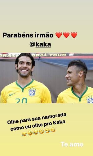 Kaká e Neymar antes de uma partida da Seleção Brasileira de Futebol
