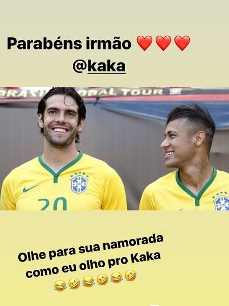 Kaká e Neymar antes de uma partida da Seleção Brasileira de Futebol - Reprodução/Instagram
