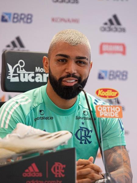 Gabigol, atacante do Flamengo, concede entrevista coletiva -  Alexandre Vidal / Flamengo