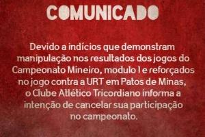 Tricordiano ameaça deixar o Campeonato Mineiro