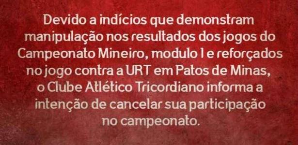Diretoria divulgou comunicado na última segunda-feira - Divulgação Facebook Oficial