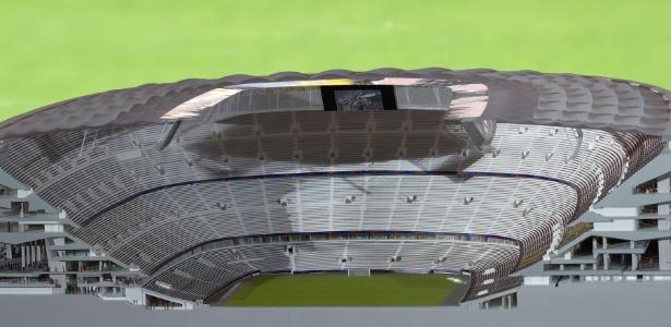 Maquete mostra futuras dependências do Camp Nou - Lluis Gené/AFP Photo