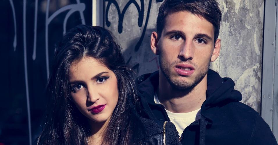 Jonathan Calleri e a namorada, Micaela Fusca, em foto para book da modelo