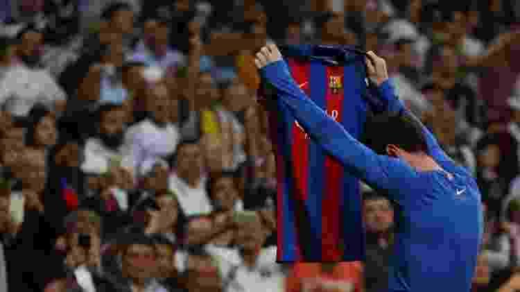 Messi comemora o gol que deu a vitória do Barça contra o Real Madrid - Reuters - Reuters