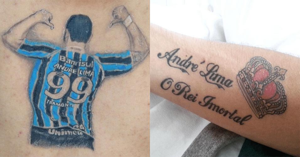 Fã do atacante André Lima, este torcedor tem cinco tatuagens em homenagem ao ex-gremista