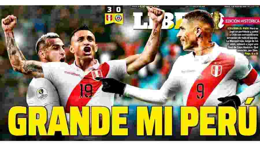 Gols de Edison Flores, Yoshimar Yotún e Paolo Guerrero foram destaque na imprensa do Peru - Reprodução