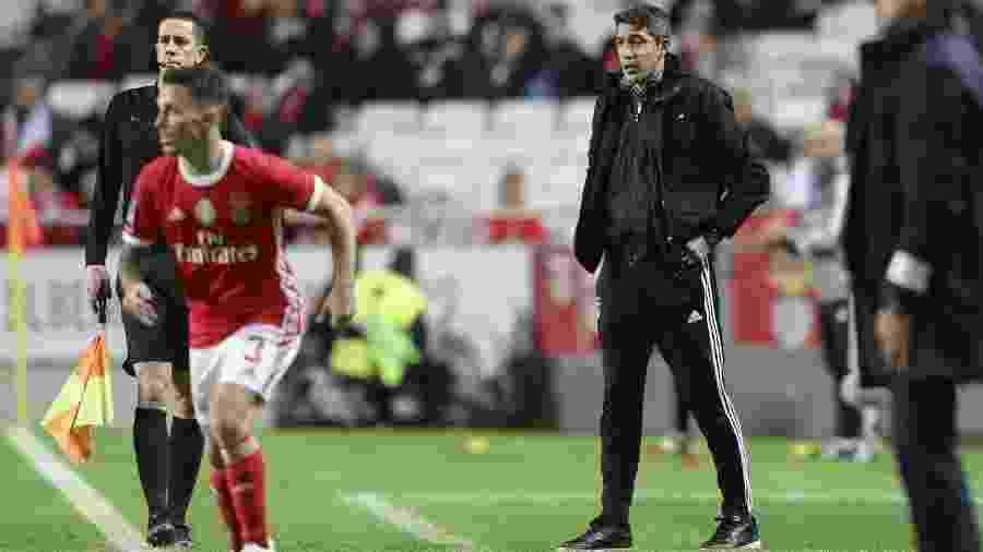 Técnico Bruno Lage (à direita), em ação enquanto trabalhava no Benfica - Benfica/Divulgação