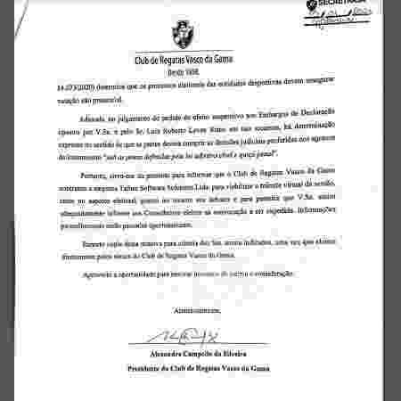 Campello, presidente do Vasco, envia ofício a Roberto Monteiro - Reprodução - Reprodução
