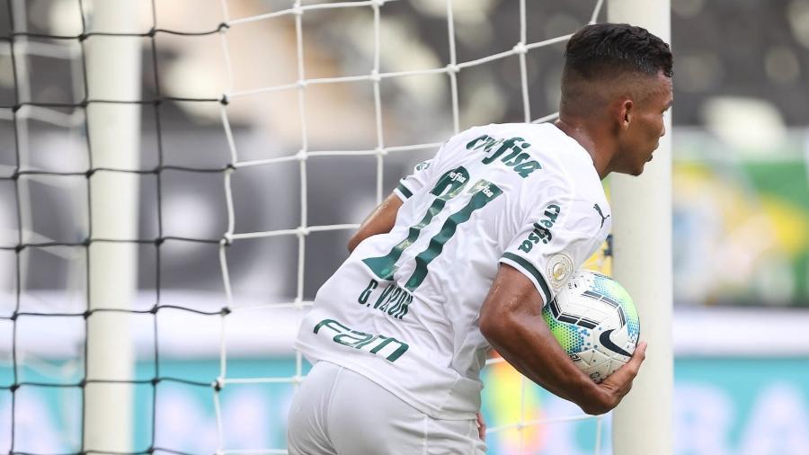 Gabriel Veron celebra o gol marcado pelo Palmeiras contra o Ceará - Cesar Greco