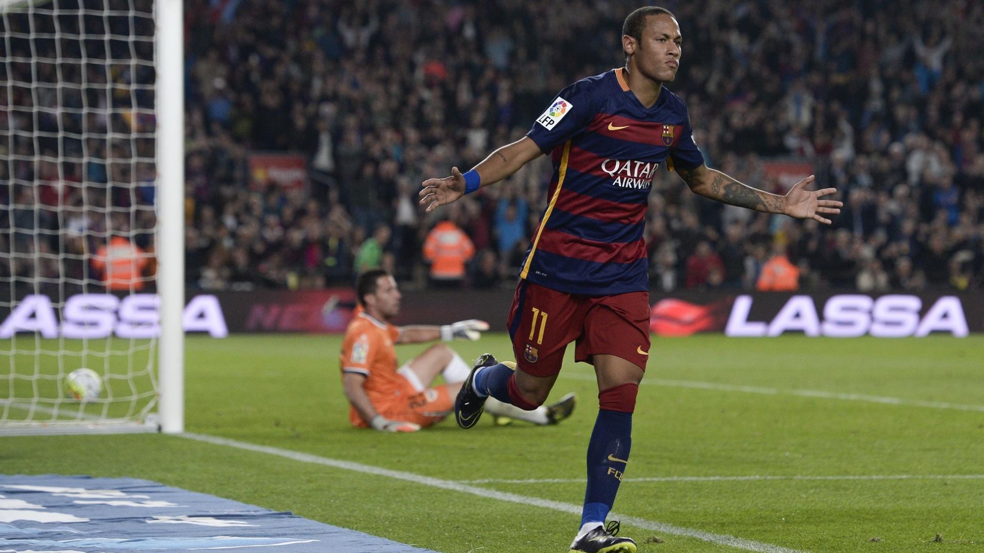 Neymar brilhou na vitória do Barcelona sobre o Rayo Vallecano ao marcar quatro gols