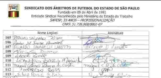 Auxiliar de arbitragem Bruno Rizo assina presença em Assembleia realizada em São Paulo no dia 30 de setembro de 2015 - Safesp