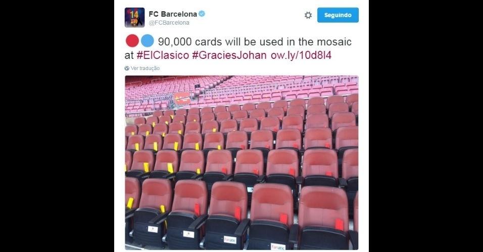 Twitter oficial do Barcelona publica foto da preparação do mosaico para o clássico