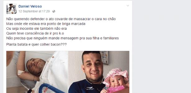 reprodução de comentário do torcedor Daniel Veloso sobre briga de torcida - Reprodução - Reprodução