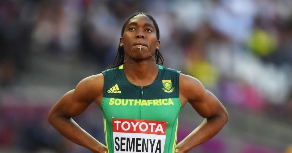 Caster Semenya, da África do Sul, antes dos 800m rasos no Mundial de Londres