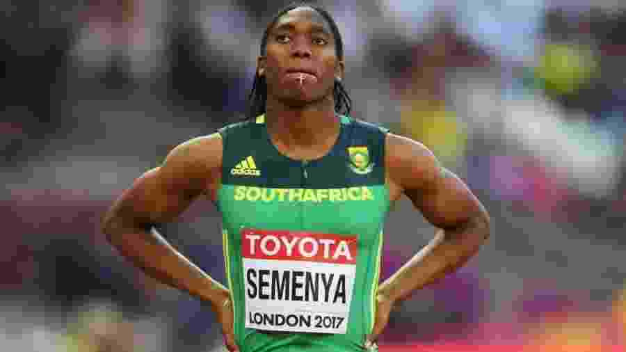 Caster Semenya, da África do Sul, antes dos 800m rasos no Mundial de Londres - David Ramos/Getty Images
