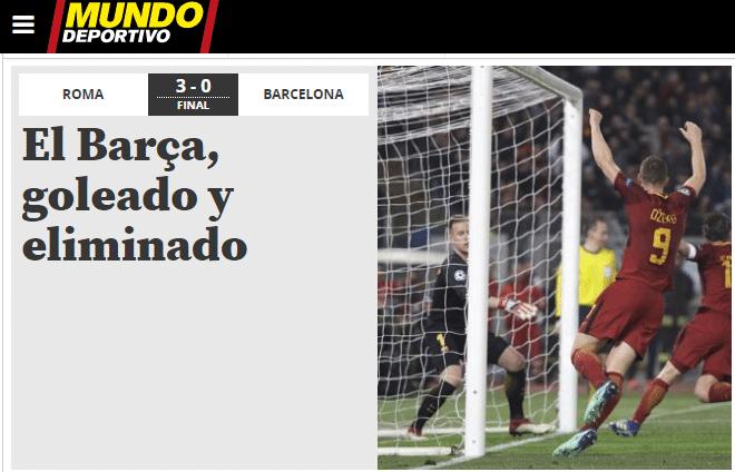 """""""Barça, goleado e eliminado"""" foi a manchete do jornal espanhol Mundo Deportivo"""
