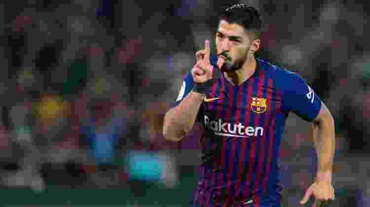 Luis Suárez, atacante do Barcelona, comemora gol contra o Betis - Jorge Guerrero/AFP - Jorge Guerrero/AFP