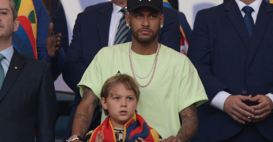 Neymar com o filho Davi Lucca na final da Copa América