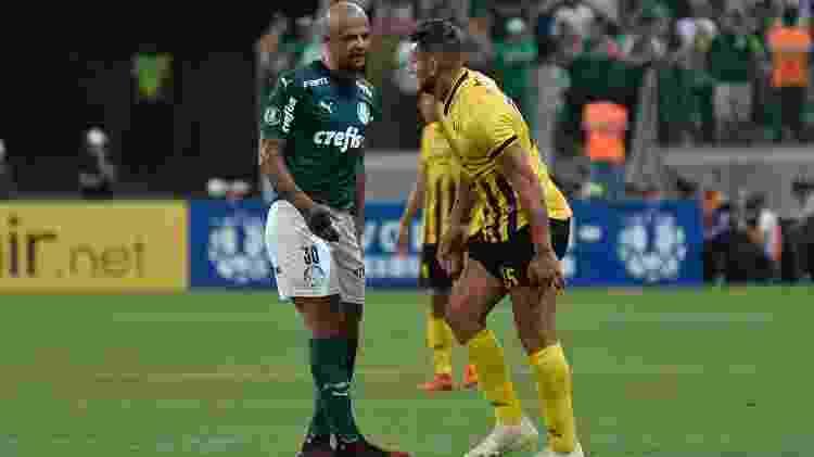 Felipe Melo e Bobadilla discutem. Jogo entre Palmeiras e Guaraní foi disputado no Allianz Parque - Bruno Ulivieri/AGIF - Bruno Ulivieri/AGIF