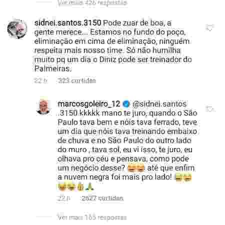 Marcos respondeu comentário de são-paulino no Instagram - Reprodução/Instagram
