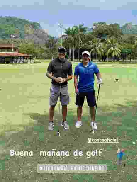 Argentinos Germán Cano e Conca praticam golfe no Rio de Janeiro - Reprodução / Instagram - Reprodução / Instagram