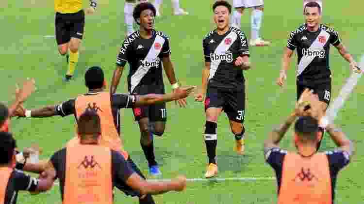 Marquinhos Gabriel comemora , acompanhado por Talles Magno, gol na vitória do Vasco sobre a Caldense pela Copa do Brasil - WAGNER SIDNEY SILVA/FUTURA PRESS/FUTURA PRESS/ESTADÃO CONTEÚDO - WAGNER SIDNEY SILVA/FUTURA PRESS/FUTURA PRESS/ESTADÃO CONTEÚDO